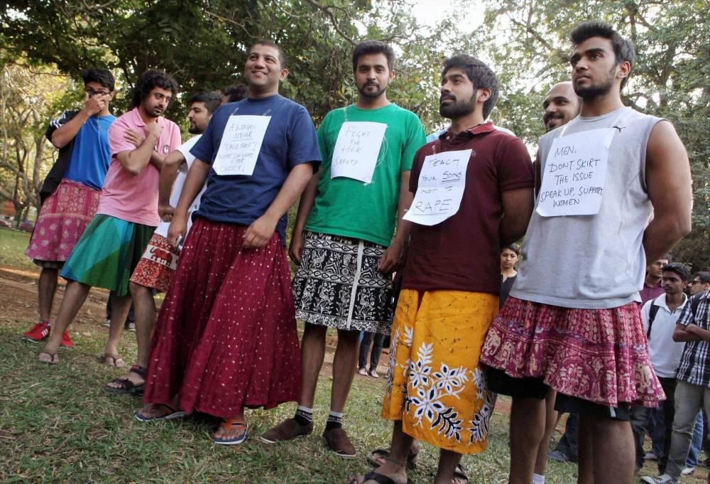 boys in skirt
