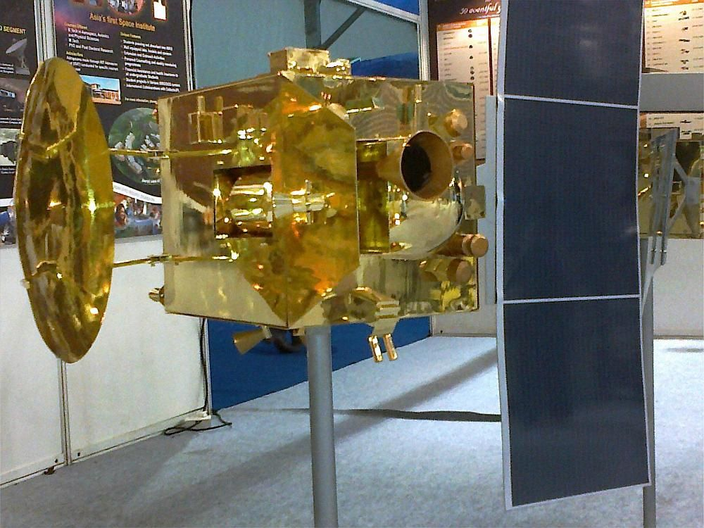 A model of India's first spacecraft to Mars on display at the Pride of India Exhibition organised on the sidelines of the 100th Indian Science Congress at Kolkata held in Jan 2013